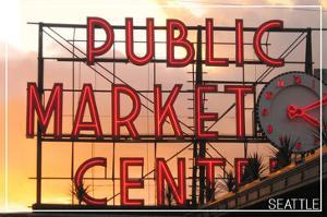 Seattle, Washington - Pike Place Market Sunset by Lantern Press