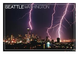 Seattle, Washington - Skyline and Lightening Strike by Lantern Press