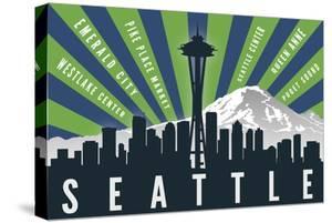 Seattle, Washington - Skyline and Mountain - Graphic Typography by Lantern Press