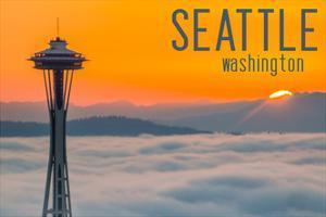 Seattle, Washington - Space Needle and Foggy Sunset by Lantern Press