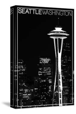 Seattle, Washington - Space Needle and Skyline at Night by Lantern Press