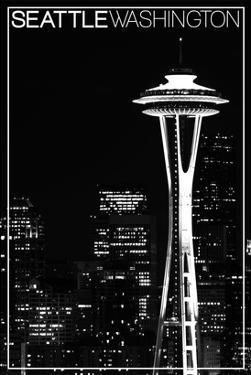 Seattle, Washington - Space Needle and Skyline at Night by Lantern Press