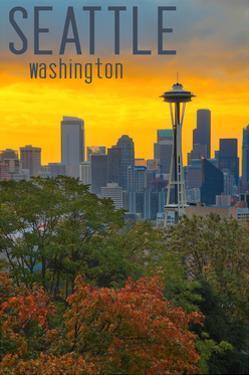 Seattle, Washington - Sunrise over City by Lantern Press