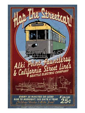 Seattle, Washington - West Seattle Streetcar by Lantern Press