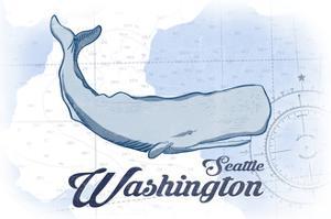 Seattle, Washington - Whale - Blue - Coastal Icon by Lantern Press