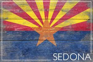 Sedona, Arizona - Arizona State Flag - Barnwood Painting by Lantern Press