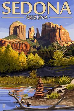 Sedona, Arizona - Cathedral Rock and Cairn by Lantern Press