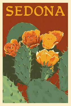 Sedona, Arizona - Prickly Pear Cactus - Letterpress by Lantern Press