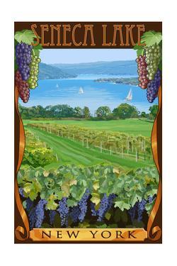 Seneca Lake, New York - Vineyard Scene by Lantern Press