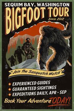 Sequim Bay, Washington - Bigfoot Tours - Vintage Sign by Lantern Press
