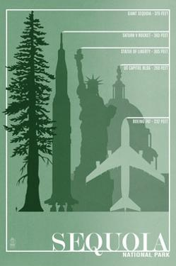 Sequoia National Park - Redwood Relative Sizes by Lantern Press