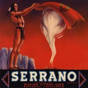 Serrano Brand - Redlands, California - Citrus Crate Label by Lantern Press