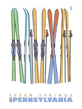Seven Springs, Pennsylvania, Skis in the Snow by Lantern Press