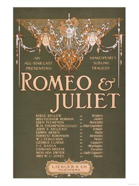 """Shakepeare's Sublime Tragedy """"Romeo & Juliet"""" Poster by Lantern Press"""