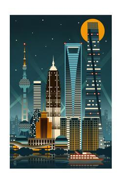 Shanghai, China - Retro Skyline (no text) by Lantern Press