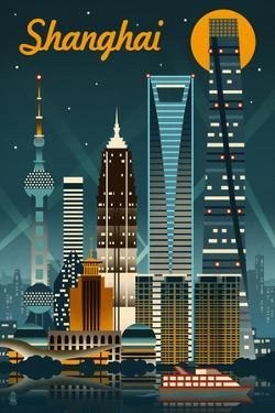 Shanghai, China - Retro Skyline by Lantern Press