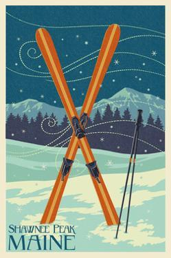 Shawnee Peak, Maine - Crossed Skis by Lantern Press