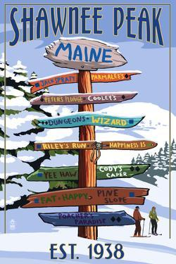 Shawnee Peak, Maine - Ski Signpost by Lantern Press
