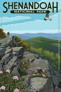 Shenandoah National Park, Virginia - Hikers and Hawk by Lantern Press