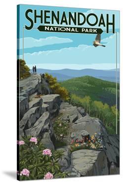 Shenandoah National Park, Virginia - Hikers and Hawk by Lantern Press