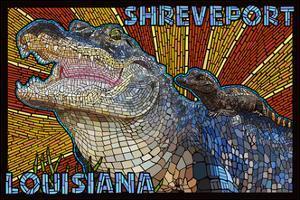 Shreveport, Louisiana - Alligator Mosaic by Lantern Press