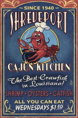 Shreveport, Louisiana - Cajun Kitchen Crawfish Vintage Sign by Lantern Press