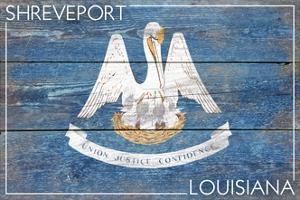 Shreveport, Louisiana - Louisiana State Flag - Barnwood Painting by Lantern Press