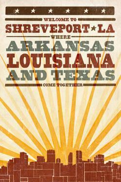 Shreveport, Louisiana - Skyline and Sunburst Sceenprint Style by Lantern Press