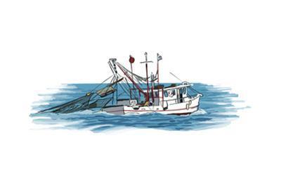 Shrimp Boat - Icon by Lantern Press