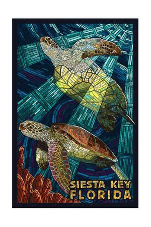 Siesta Key, Florida - Sea Turtle - Mosaic by Lantern Press