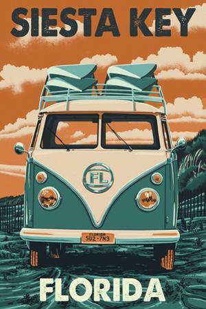 Siesta Key, Florida - VW Van by Lantern Press