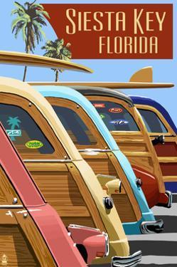 Siesta Key, Florida - Woodies Lined Up by Lantern Press