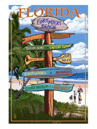 Sign Destinations - Fort Myers Beach, Florida by Lantern Press