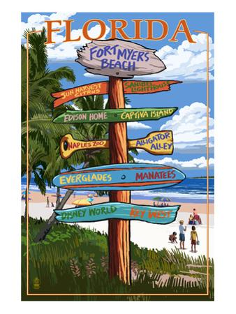 Sign Destinations - Fort Myers Beach, Florida by Lantern Press
