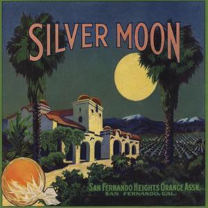 Silver Moon Brand - San Fernando, California - Citrus Crate Label by Lantern Press