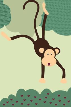 Simple Monkey - Green by Lantern Press