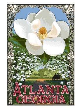 Single White Magnolia - Atlanta, Georgia by Lantern Press