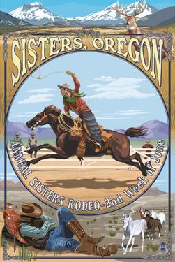 Sisters, Oregon - Cowboy Montage by Lantern Press