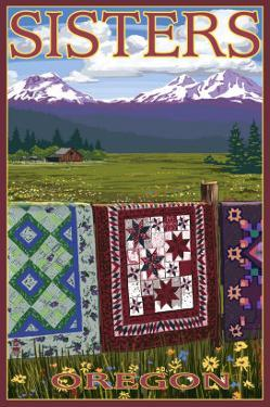 Sisters, Oregon View with Quilts on Fence, c.2009 by Lantern Press