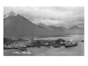 Sitka, Alaska - Aerial Panoramic View of Town by Lantern Press