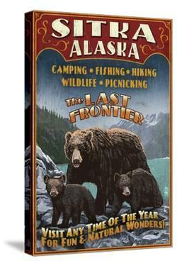 Sitka, Alaska - Black Bear Family Vintage Sign by Lantern Press