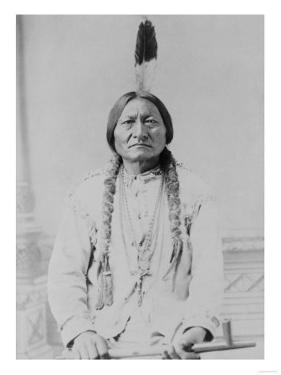 Sitting Bull Native American with Peace Pipe Photograph - Bismarck, ND by Lantern Press