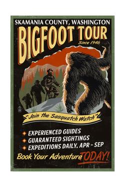 Skamania County, Washington - Bigfoot Tours - Vintage Sign by Lantern Press