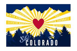 Ski Colorado - Heart and Treeline by Lantern Press