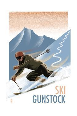 Ski Gunstock - Downhill Skier Lithography Style by Lantern Press
