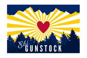 Ski Gunstock - Heart and Treeline by Lantern Press