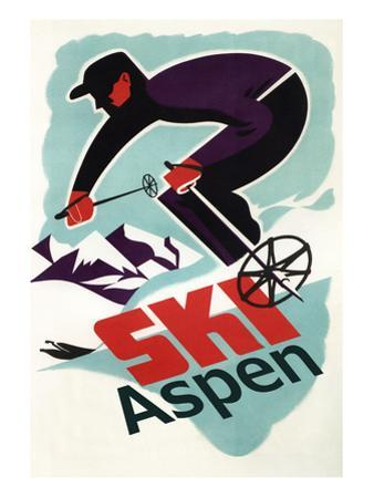 Ski in Colorado Vintage Skier - Aspen, Colorado by Lantern Press