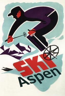 Ski in Colorado Vintage Skier - Aspen, Colorado by Lantern Press