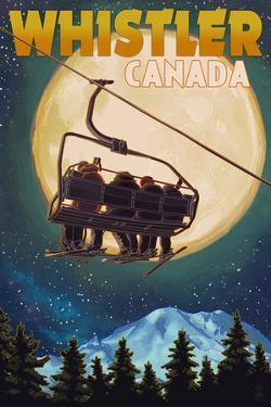 Ski Lift and Full Moon - Whistler, Canada by Lantern Press