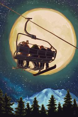 Ski Lift and Full Moon with Snowboarder by Lantern Press